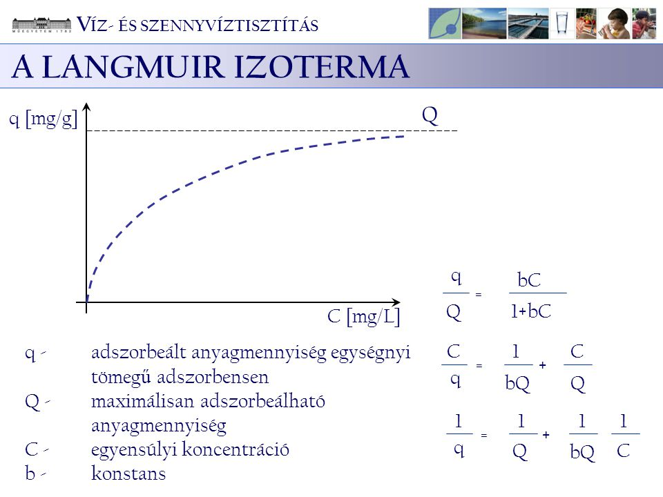 A LANGMUIR IZOTERMA VÍZ- ÉS SZENNYVÍZTISZTÍTÁS Q q [mg/g] q Q = bC